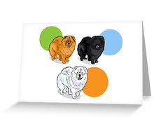 chaw chaw dog icons, label, sticker, fake paper banner.Black, red,white dog Greeting Card