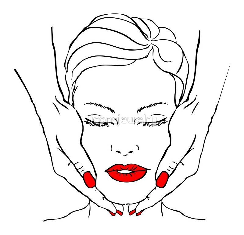 u0026quot fake tattoo beautiful woman face with hands massage  spa  red lips  nails u0026quot  posters by
