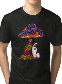 Rabbit by a Mushroom Tri-blend T-Shirt