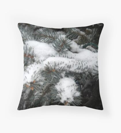 Evergreen and Snow Throw Pillow