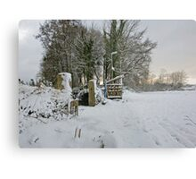 Snow Scene Yelverton, Dartmoor Metal Print