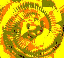 Yellow Pinwheel Abstraction by Cezean