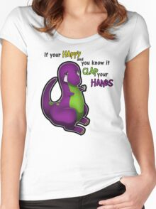 If Your Happy And You Know It Barney Women's Fitted Scoop T-Shirt