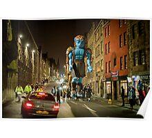 Blue man walking Poster