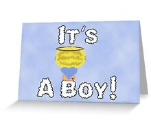 It's A Boy Angel Sitting On A Cloud Blonde Head Greeting Card