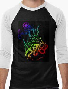 Tentacles (Black Background) Men's Baseball ¾ T-Shirt