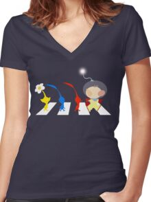 Pikmin Abbey Road Women's Fitted V-Neck T-Shirt