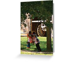 Two Little Girls Playing on Swing Greeting Card