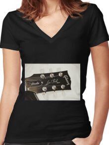 Gibson Guitar Headstock Photograph Women's Fitted V-Neck T-Shirt