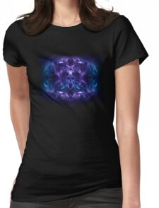 Fractal Flame Skull v2 (Blue/Purple) Womens Fitted T-Shirt