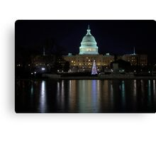 U.S. Capitol Building at Night Canvas Print
