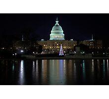 U.S. Capitol Building at Night Photographic Print