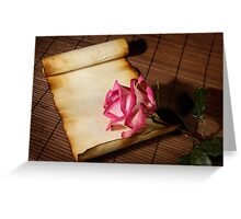 Pink rose and a parchment Greeting Card
