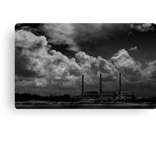 three stacks against the sky- who will win? Canvas Print