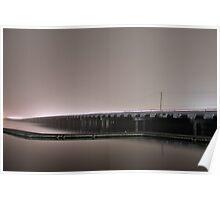 Foggy Night - Bridge over Clear Lake Poster