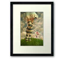 Cute Girl with Striped Socks Framed Print