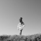 Girl on Hilltop with Shawl by Loren Carlile