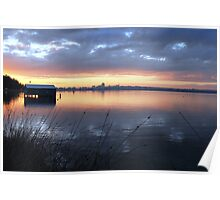 Crawley Boatshed by Sunrise Poster