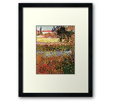 Flowering Garden. Vintage floral garden oil painting by Vincent van Gogh. Framed Print