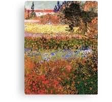 Flowering Garden. Vintage floral garden oil painting by Vincent van Gogh. Canvas Print
