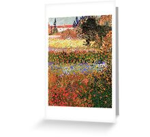 Flowering Garden. Vintage floral garden oil painting by Vincent van Gogh. Greeting Card