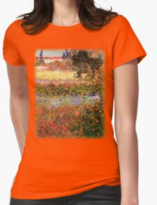 Flowering Garden. Vintage floral garden oil painting by Vincent van Gogh. Womens Fitted T-Shirt