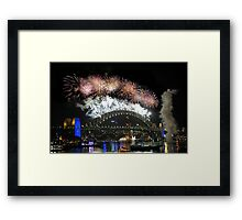 Sydney New Year Eve 2009 Fireworks - Burst of colours Framed Print