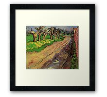 Pollard Willows by Vincent van Gogh. Rural, country road landscape oil painting. Framed Print