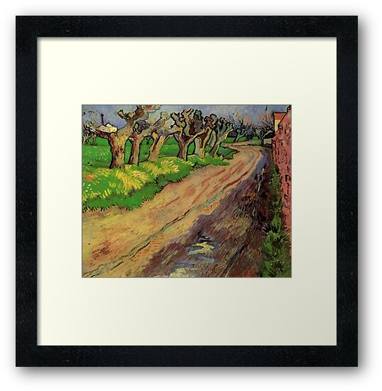 Pollard Willows by Vincent van Gogh. Rural, country road landscape oil painting. by naturematters