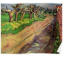 Pollard Willows by Vincent van Gogh. Rural, country road landscape oil painting. Poster
