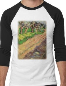 Pollard Willows by Vincent van Gogh. Rural, country road landscape oil painting. Men's Baseball ¾ T-Shirt