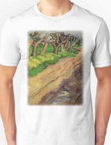 Pollard Willows by Vincent van Gogh. Rural, country road landscape oil painting. Unisex T-Shirt