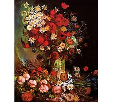 Vase with Poppies, Cornflowers, Peonies and Chrysanthemum. Vincent van Gogh.  Photographic Print