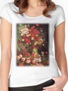 Vase with Poppies, Cornflowers, Peonies and Chrysanthemum. Vincent van Gogh.  Women's Fitted Scoop T-Shirt