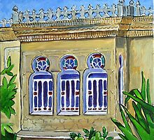Old Lebanese house with stain glass windows by nancy salamouny