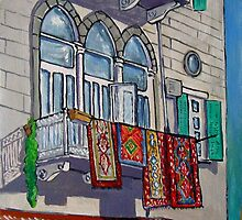 Balcony with Hanging Carpets by nancy salamouny
