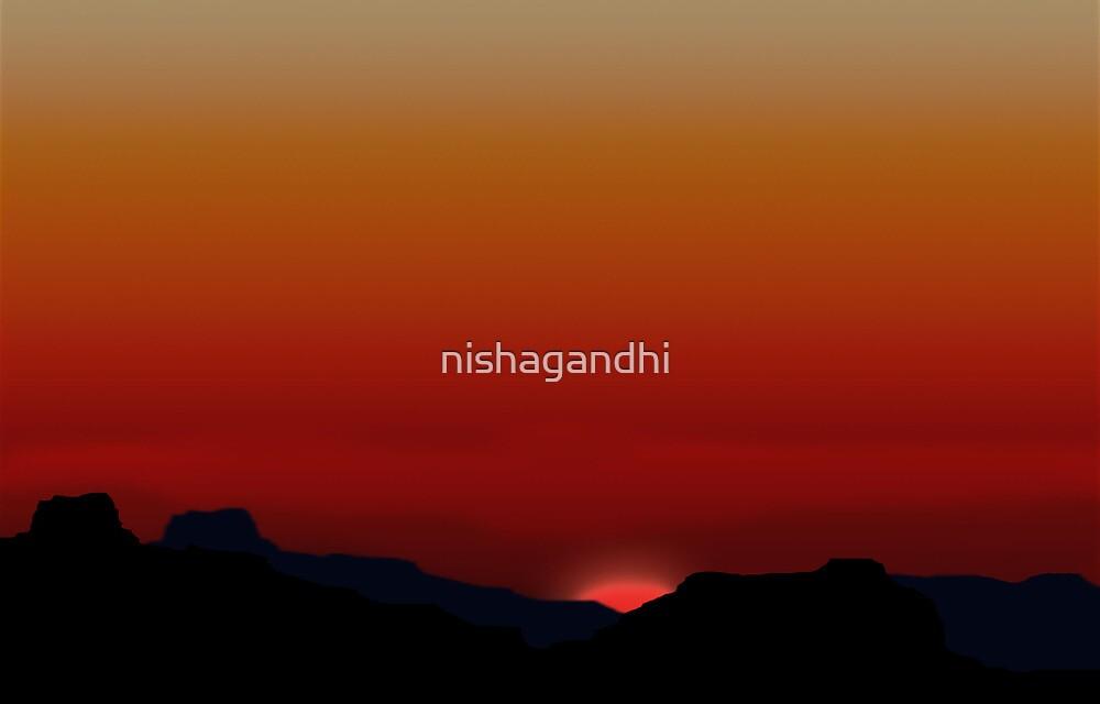 Beautiful sunset illustration by nishagandhi