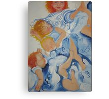 Children in blue Canvas Print