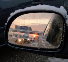 Dutch winter snow traffic jam by DutchLumix