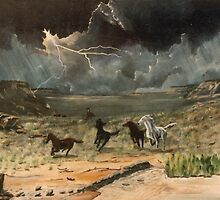 Wild horses in a thunder storm =acrylics on canvas by Gordon Pegler