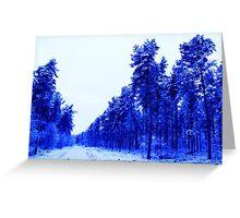 Snowy Woodland Walk in Blue Greeting Card