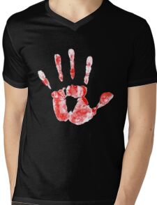 Hand print Mens V-Neck T-Shirt
