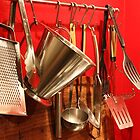 Kitchen stuff with red background. by Majnu