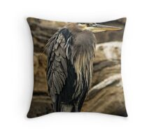 Great Blue Heron In The Rain Throw Pillow