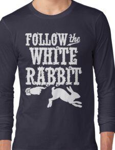 Follow The White Rabbit Alice in Wonderland T Shirt Long Sleeve T-Shirt