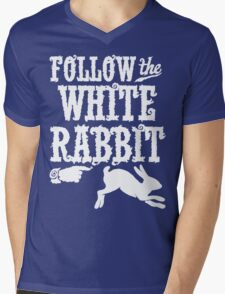 Follow The White Rabbit Alice in Wonderland T Shirt Mens V-Neck T-Shirt