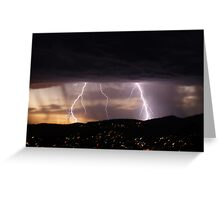Lightning over Hobart Greeting Card