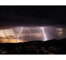 Lightning over Hobart Photographic Print