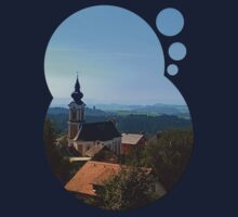Village church, skyline and panorama | landscape photography Kids Clothes