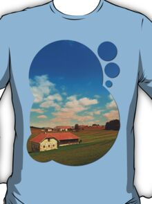 Countryside life with blue cloudy sky | landscape photography T-Shirt